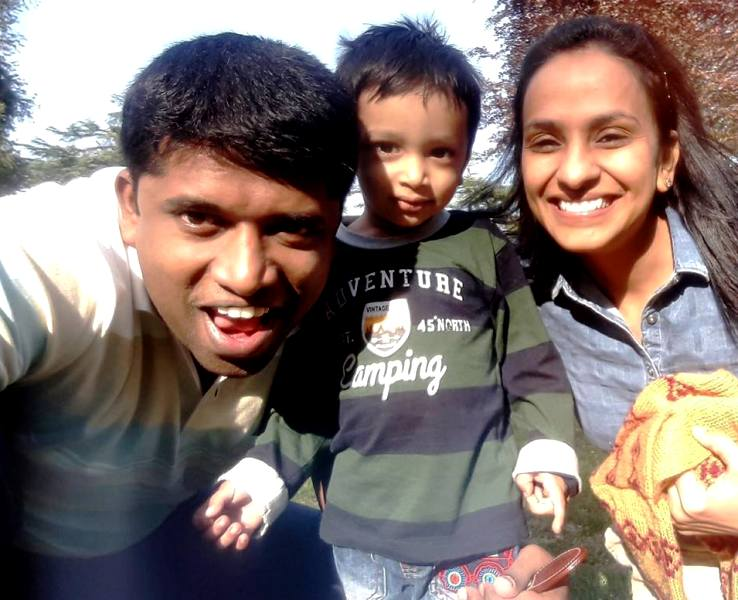 Kannan Gopinathan with his wife Himani Pathak and his son Aadu