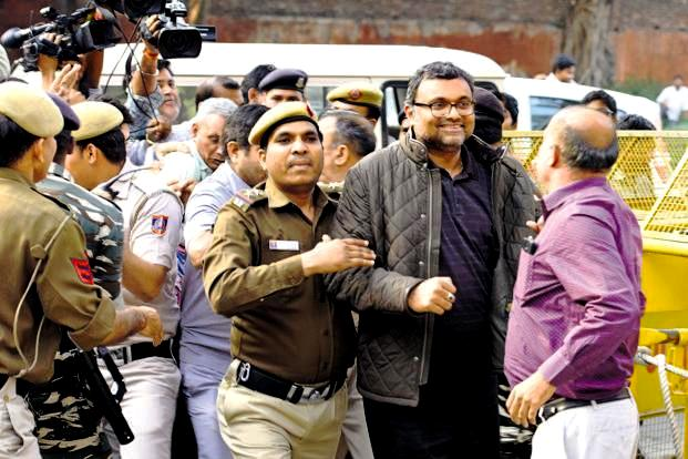 Karti Chidambaram being taken for questioning