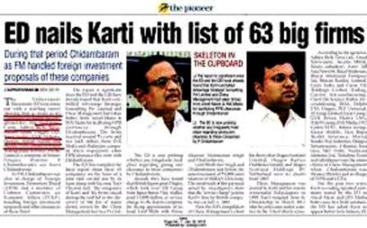 Karti Chidambaram in the Pioneer Newspaper