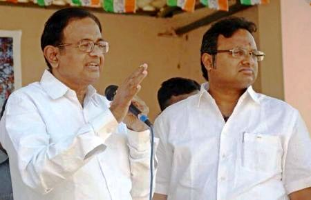 Karti Chidambaram with his father P. Chidambaram
