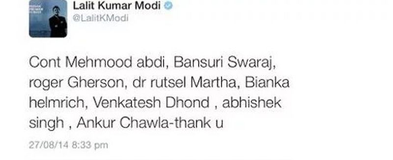 Lalit Modi Tweet On Bansuri Swaraj