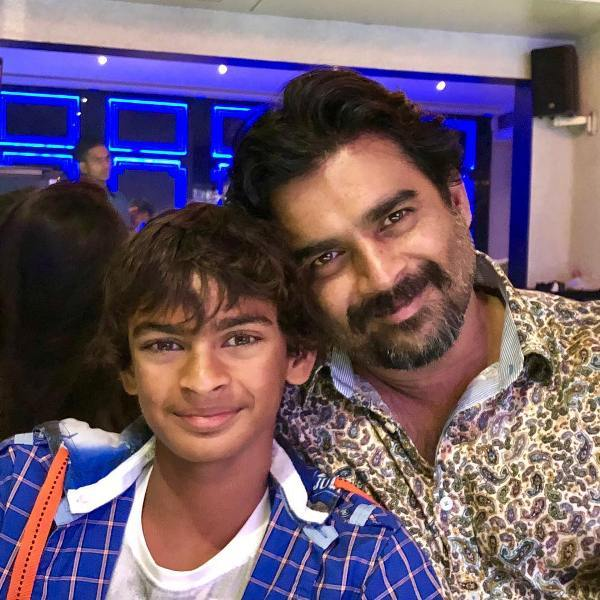 R. Madhavan with his son