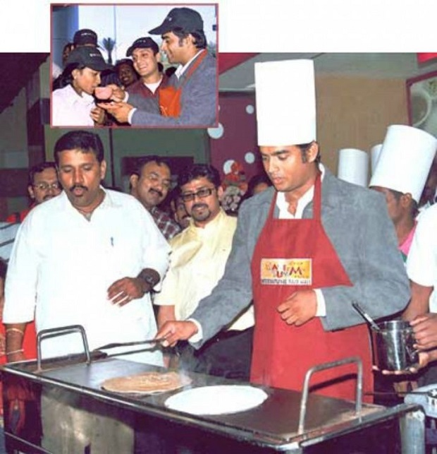 R. Madhavan making dosa for charity
