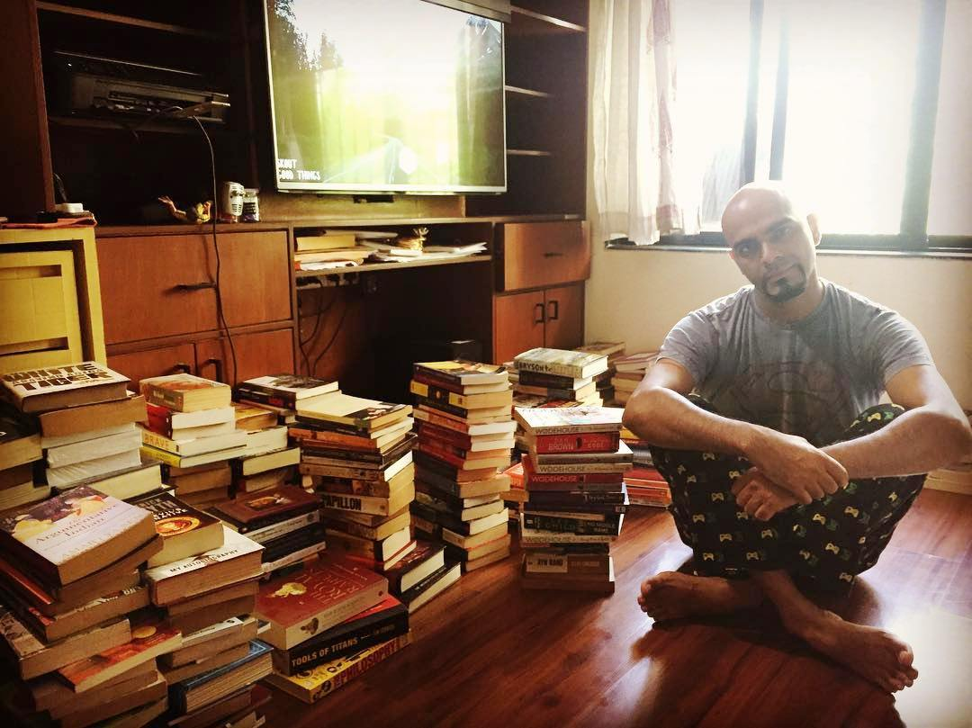 Raghu Ram With His Books