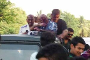 Raghu Ram's Face Blackened by the ABVP Activists