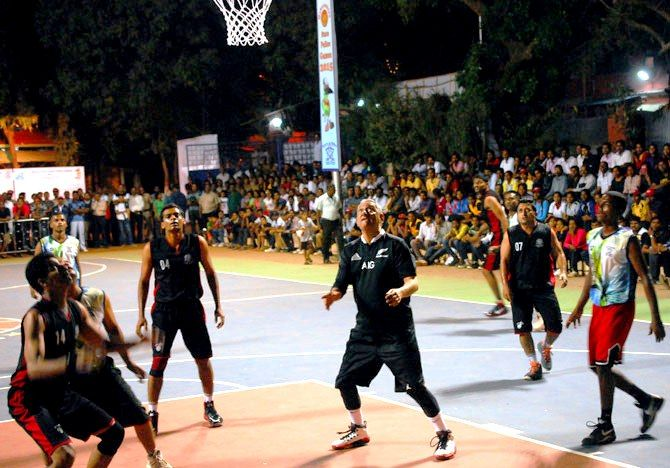 Rakesh Maria playing basketball
