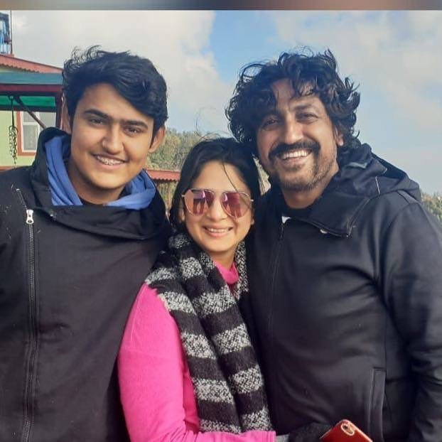 Sakshi Joshi with her husband and son