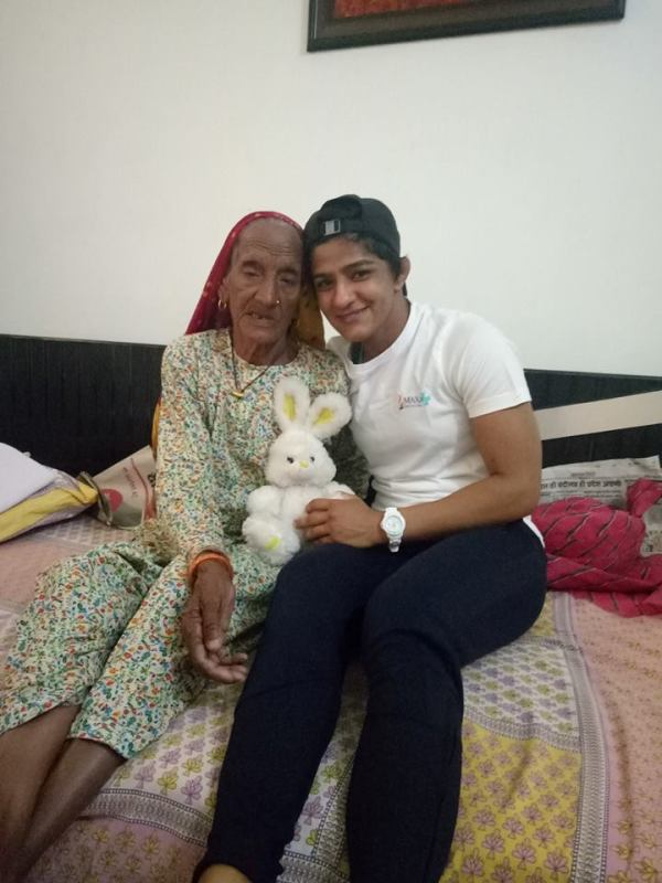 Sangeeta Phogat with her grand mother