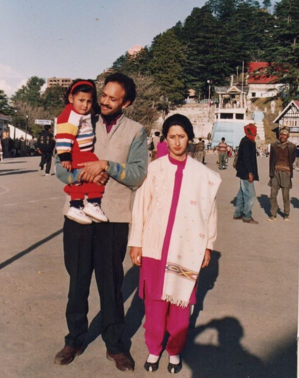 Shivya Pathania Childhood Photograph with her Parents