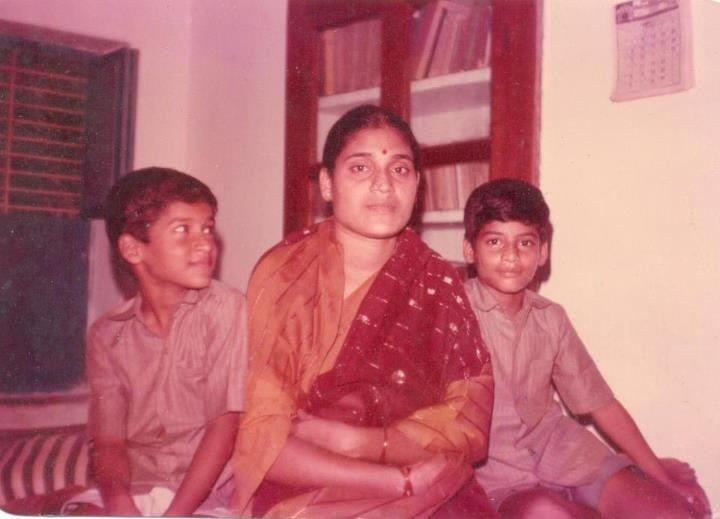 Subbaraju with his mother and brother