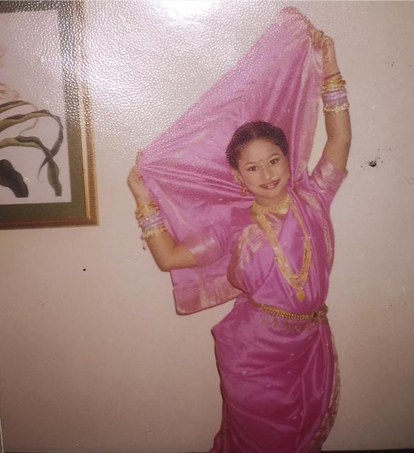 Urvashi Pardeshi in a photograph from her childhood, striking a dance pose