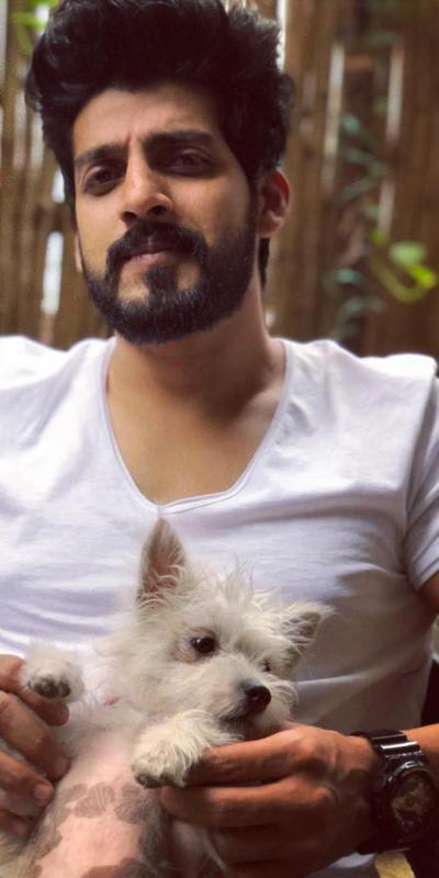 Vishu Reddy with his pet dog