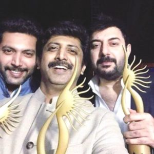 Arvind Swami Posing with His Award