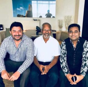 Arvind Swami with Mani Ratnam and A. R. Rahman