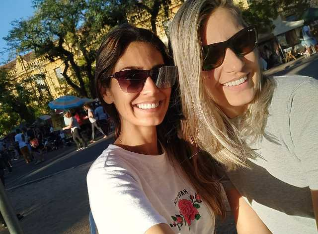 Bruna Abdullah with her sister