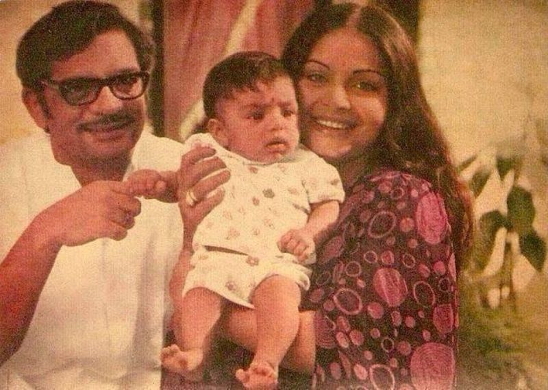 Gulzar and Rakhee with one year old Meghna Gulzar
