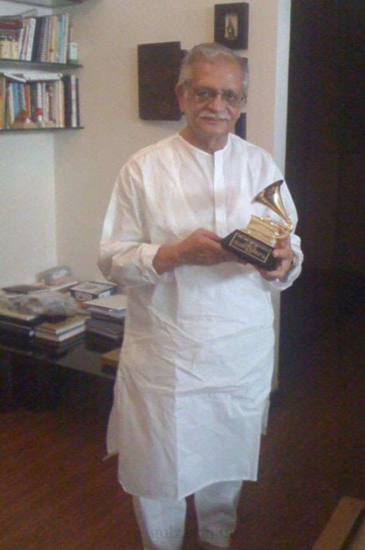 Gulzar with his Grammy Award