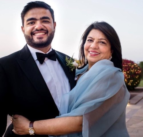 Madhu Chopra with her son