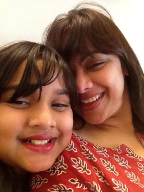 Medha Manjrekar with her daughter Saiee Manjrekar