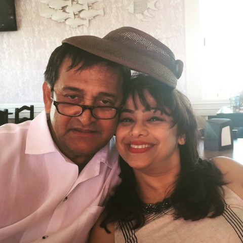 Medha Manjrekar with her husband