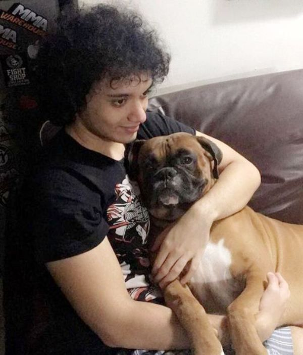 Namashi Chakraborty with His Dog