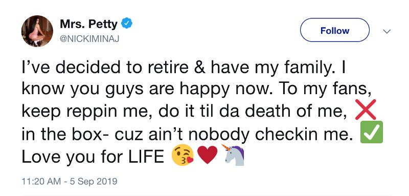 Nicki Minaj's retirement tweet