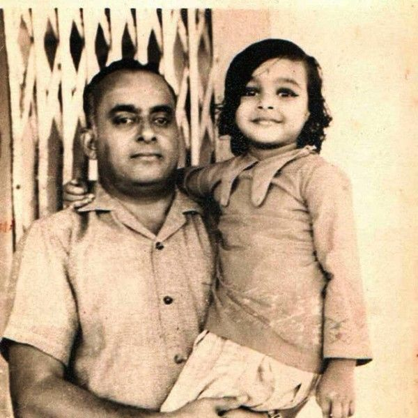 Old Picture of Suchitra Krishnamoorthi and Her Father