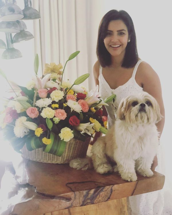 Priya Anand with her dog