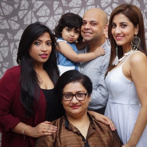 Rukmini Maitra with her family