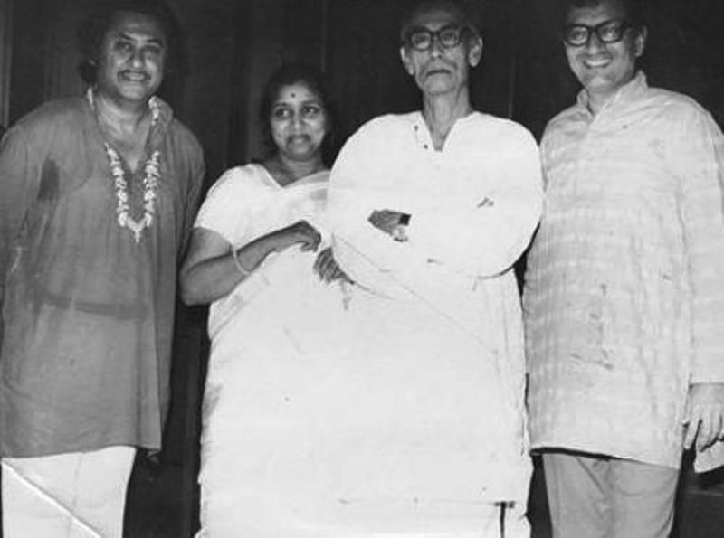 S. D. Burman with Kishore Kumar and Asha Bhosle