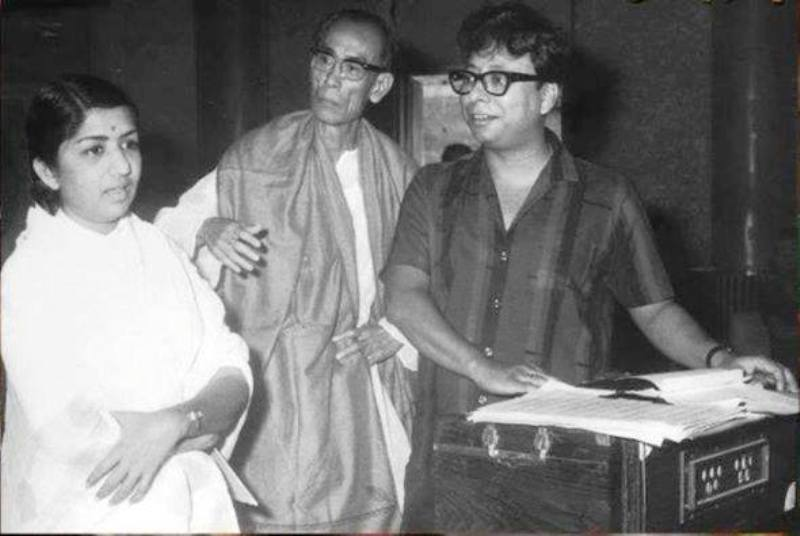 S. D. Burman with Lata Mangeshkar and R. D. Burman