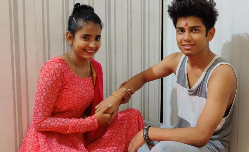 Sarika Bahroliya with her Brother