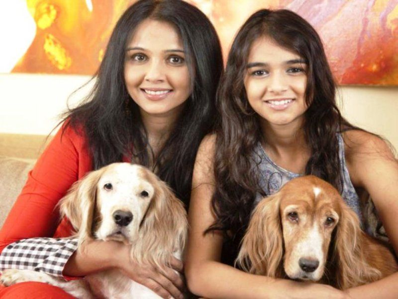 Suchitra Krishnamoorthi with Her Daughter and Dogs