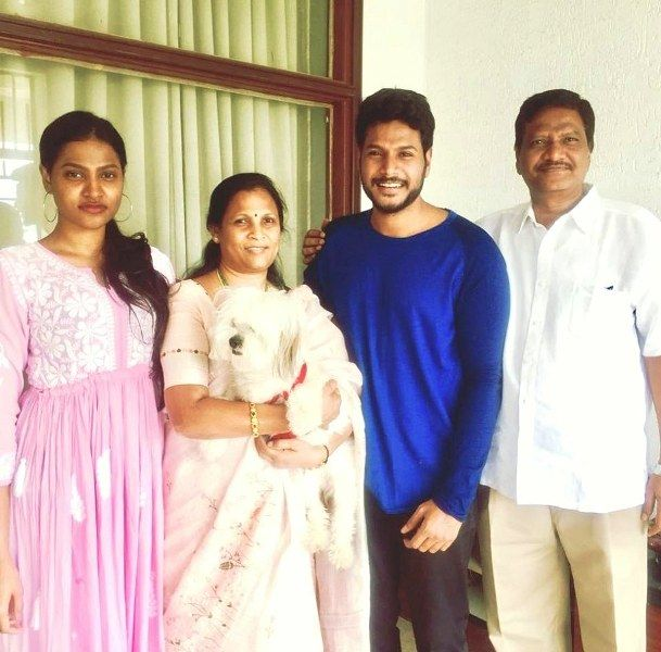 Sundeep Kishan with His Family and Dog