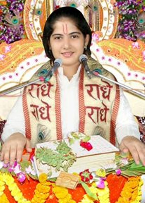 Young Jaya Kishori during Satsang