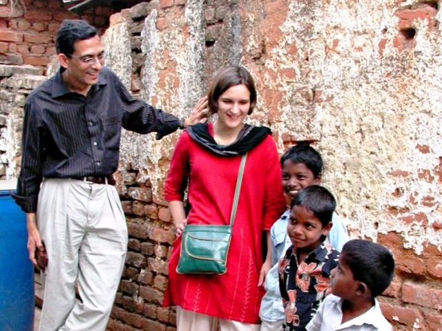 Abhijit Banerjee and Esther Duflo conducting a field experiment in India