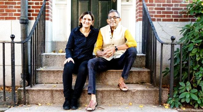 Abhijit Banerjee with his second wife Esther Duflo