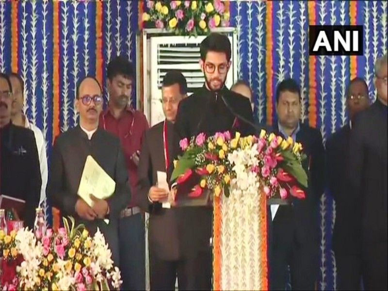 Aditya Thackeray being sworn in as a Cabinet Minister in the Maharashtra Government