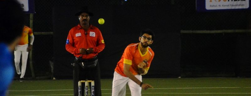 Aditya Thackeray playing cricket