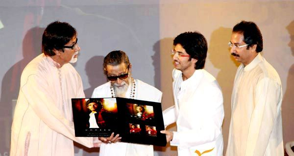 Aditya Thackeray with Amitabh Bachchan, Bal Thackeray, and Uddhav Thackeray at the launch of Ummeed