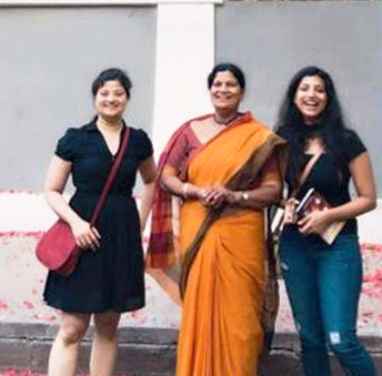 Amrapali Kata with her mother and sister