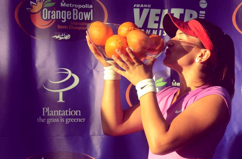 Bianca Andreescu after winning the Orange Bowl