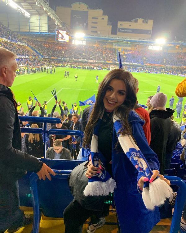Celina Sharma supporting Chelsea F.C