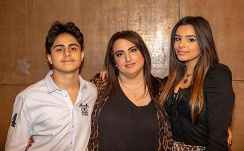 Celina Sharma with her mother and brother