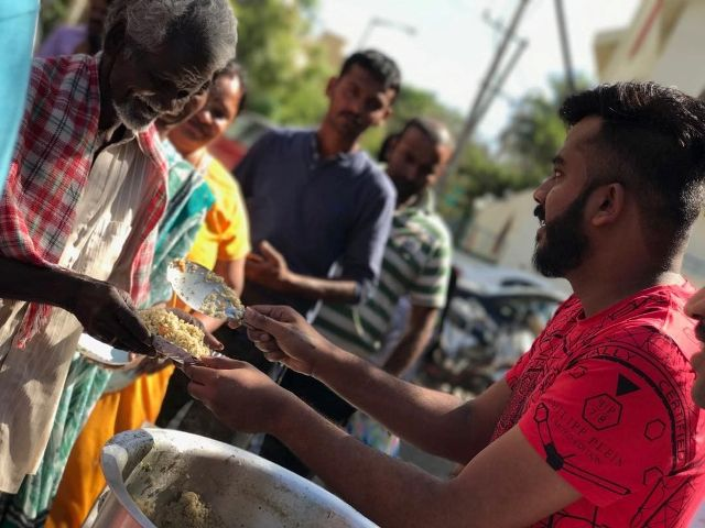 Chandan Shetty serving the poor