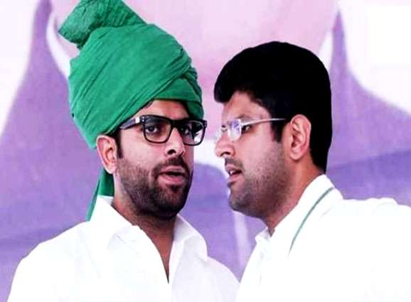 Dushyant Chautala (right) with his younger brother Digvijay Chautala