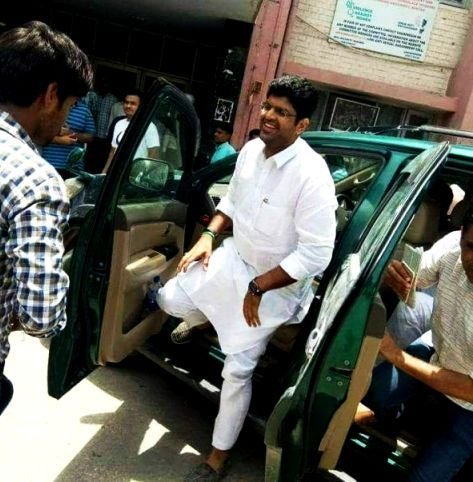 Dushyant Chautala stepping out of his car