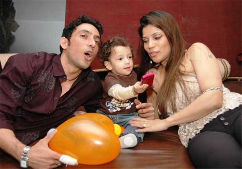 Hrishikesh Pandey with His Wife and Son