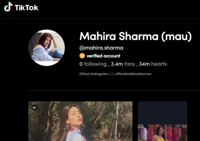 Mahira Sharma's TikTok Account