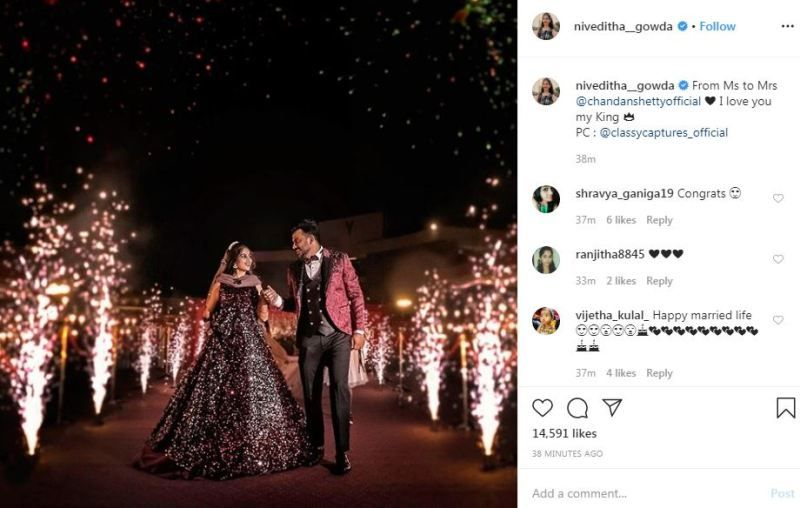 Niveditha Gowda's Instagram post about her marriage with Chandan Shetty